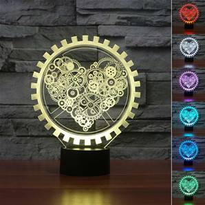 LAMPE LED COEUR STEAMPUNK